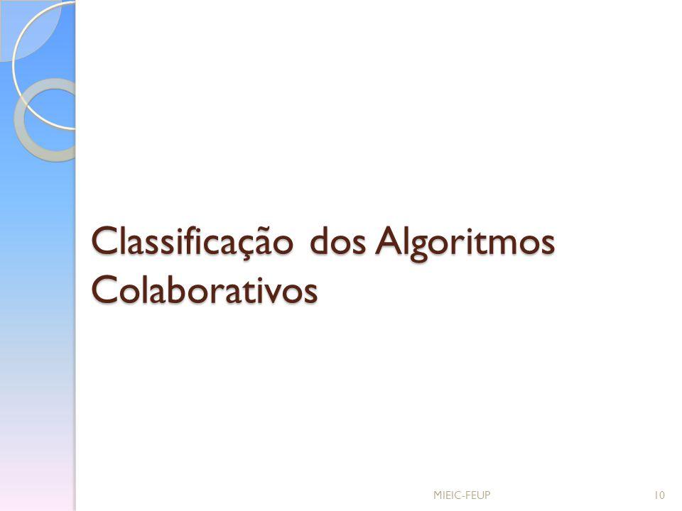 Classificação dos Algoritmos Colaborativos