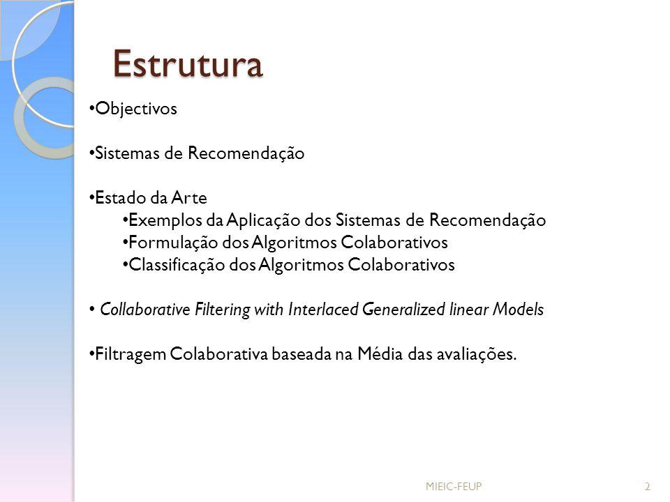 Estrutura Objectivos Sistemas de Recomendação Estado da Arte