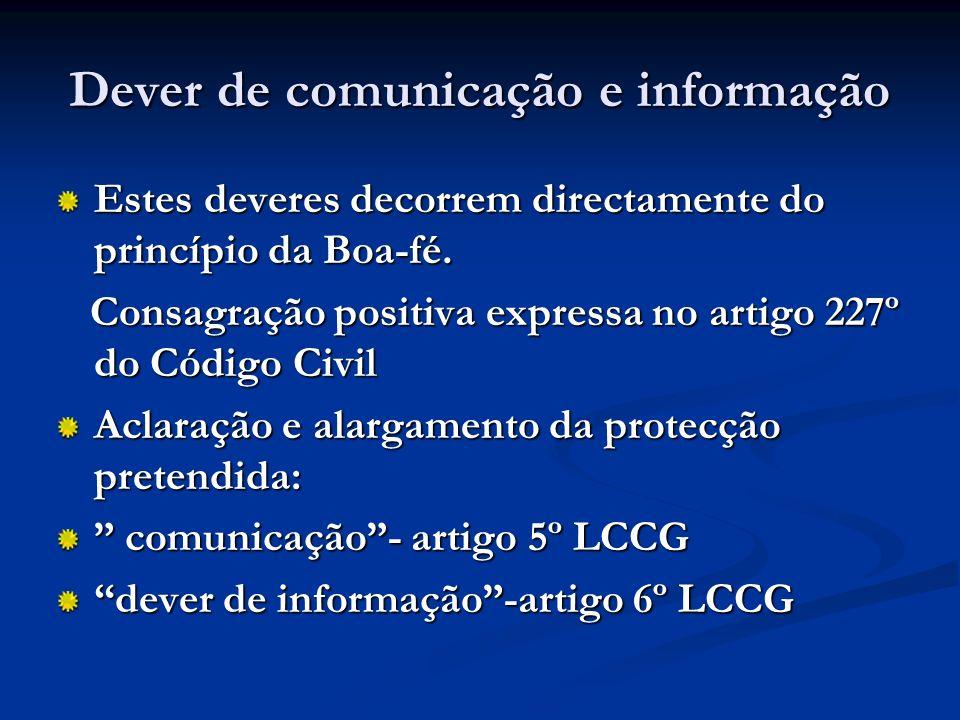 Dever de comunicação e informação