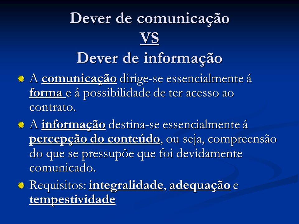 Dever de comunicação VS Dever de informação