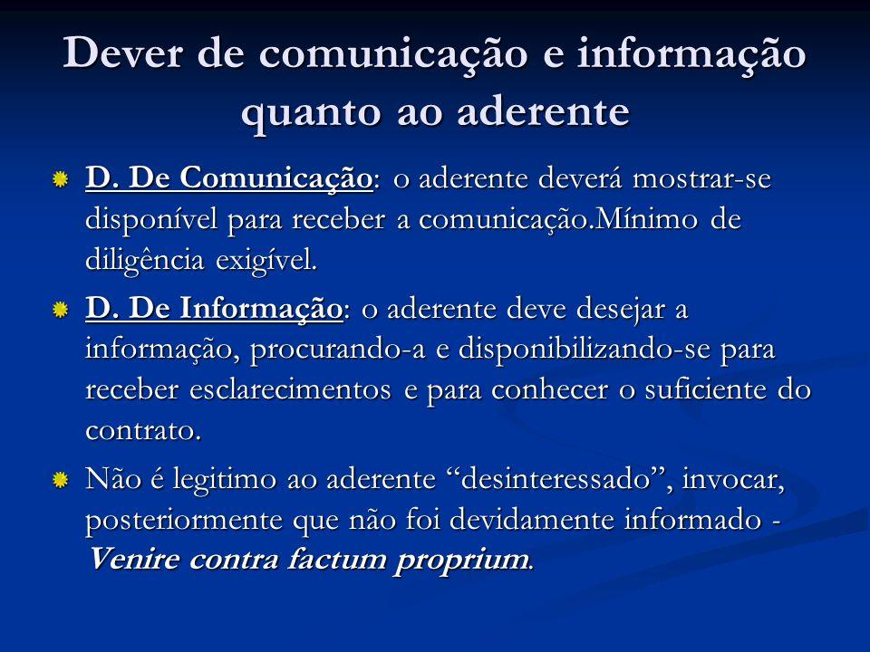 Dever de comunicação e informação quanto ao aderente