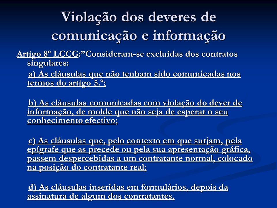 Violação dos deveres de comunicação e informação