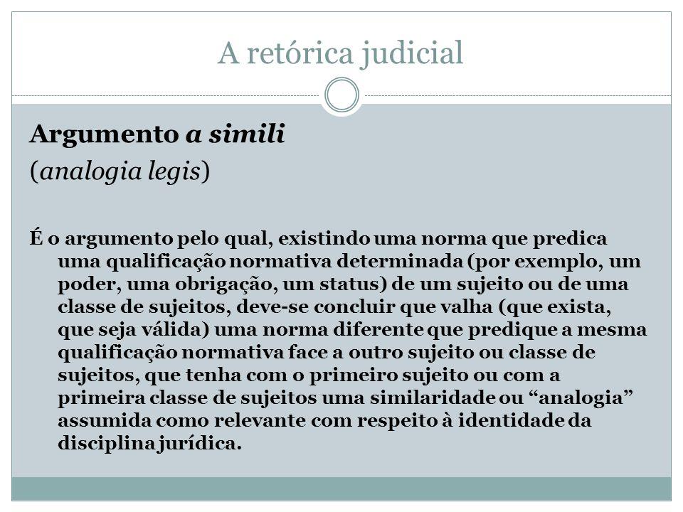 A retórica judicial Argumento a simili (analogia legis)