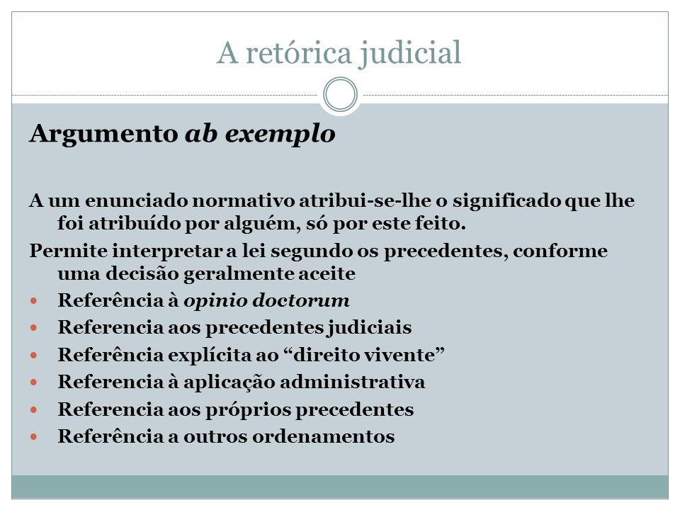 A retórica judicial Argumento ab exemplo