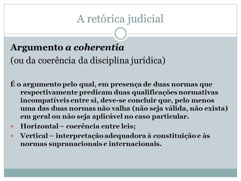 A retórica judicial Argumento a coherentia