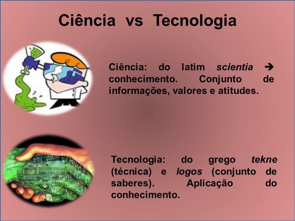 Ciência vs Tecnologia Ciência: do latim scientia  conhecimento. Conjunto de informações, valores e atitudes.