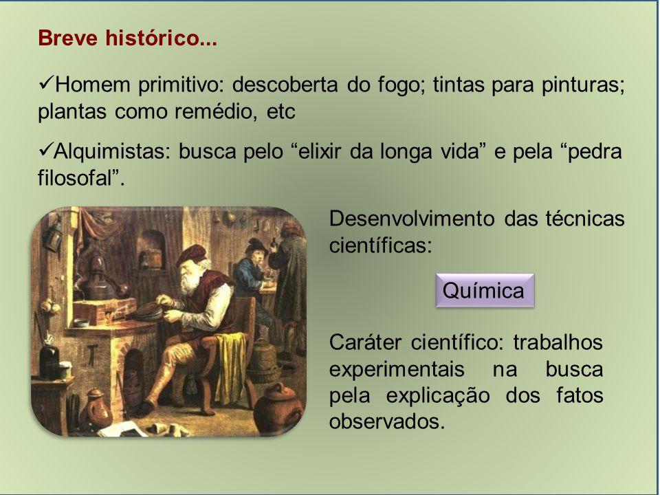 Breve histórico... Homem primitivo: descoberta do fogo; tintas para pinturas; plantas como remédio, etc.