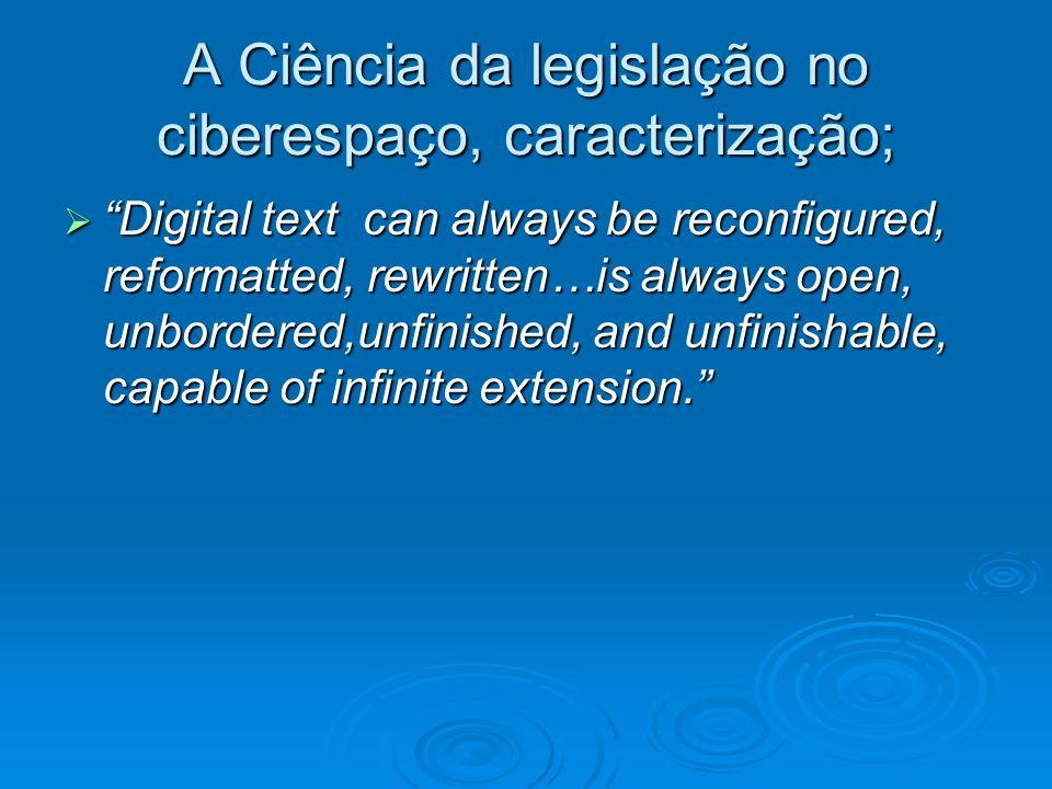 A Ciência da legislação no ciberespaço, caracterização;