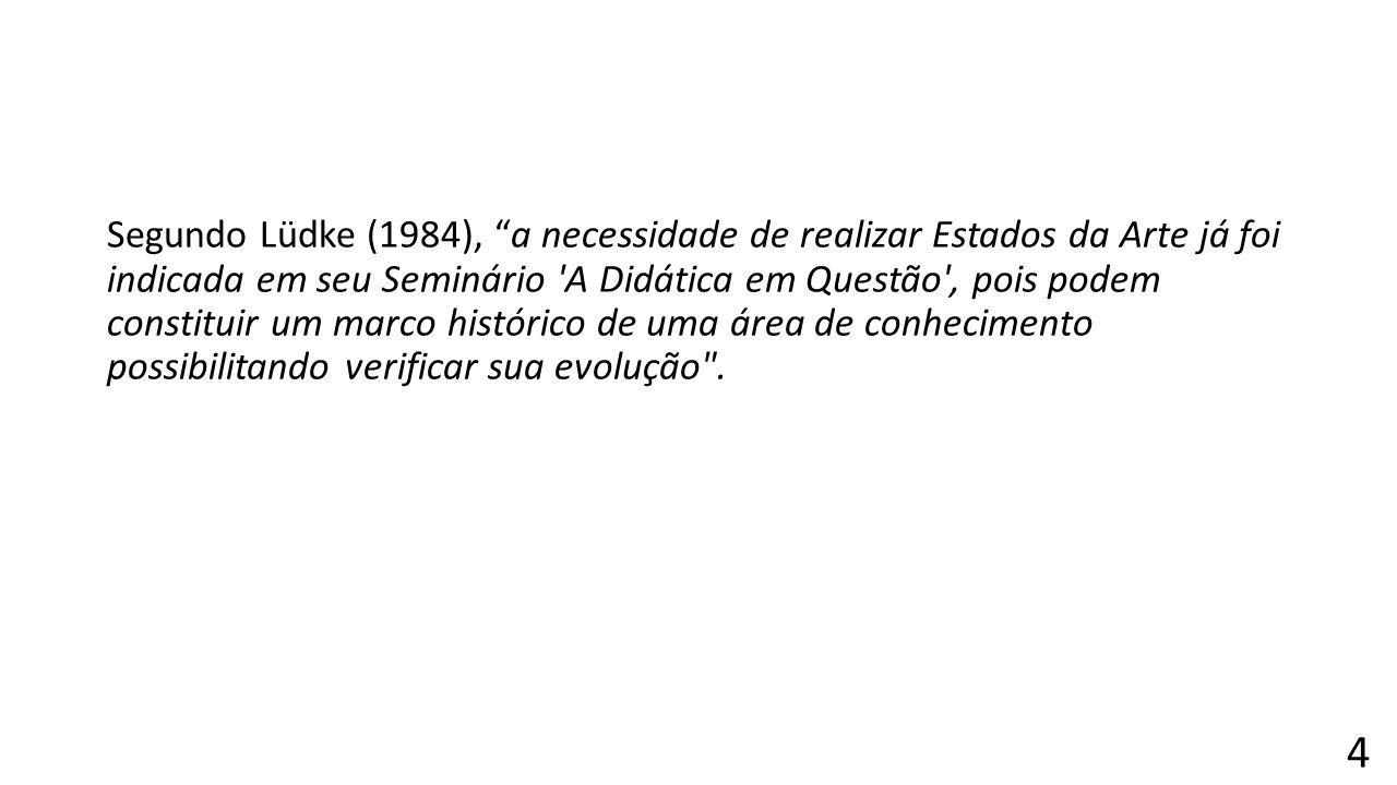 Segundo Lüdke (1984), a necessidade de realizar Estados da Arte já foi indicada em seu Seminário A Didática em Questão , pois podem constituir um marco histórico de uma área de conhecimento possibilitando verificar sua evolução .