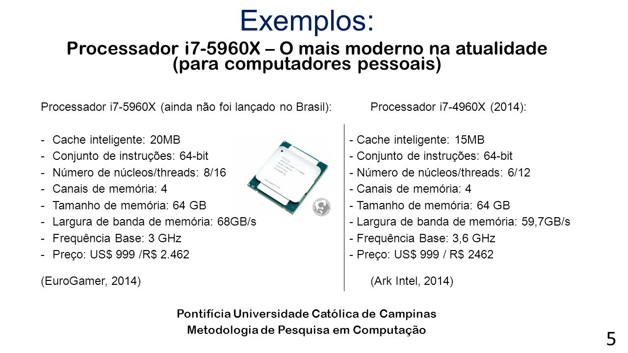Exemplos: Processador i7-5960X – O mais moderno na atualidade (para computadores pessoais)
