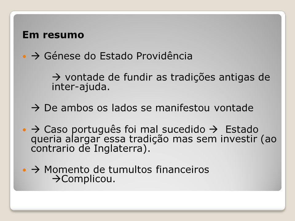 Em resumo Génese do Estado Providência.  vontade de fundir as tradições antigas de inter-ajuda.