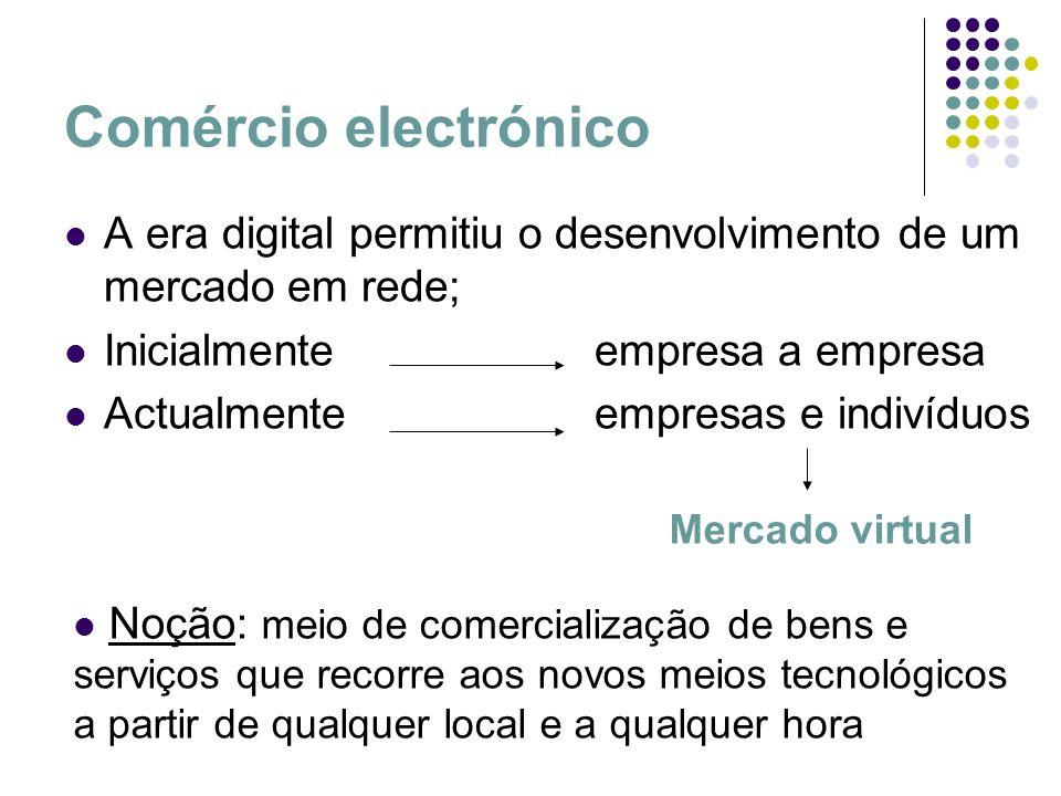 Comércio electrónico A era digital permitiu o desenvolvimento de um mercado em rede; Inicialmente empresa a empresa.