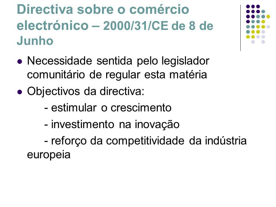 Directiva sobre o comércio electrónico – 2000/31/CE de 8 de Junho