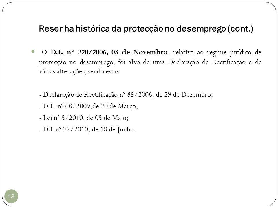 Resenha histórica da protecção no desemprego (cont.)