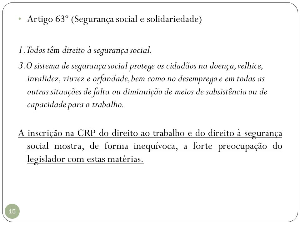 Artigo 63º (Segurança social e solidariedade)