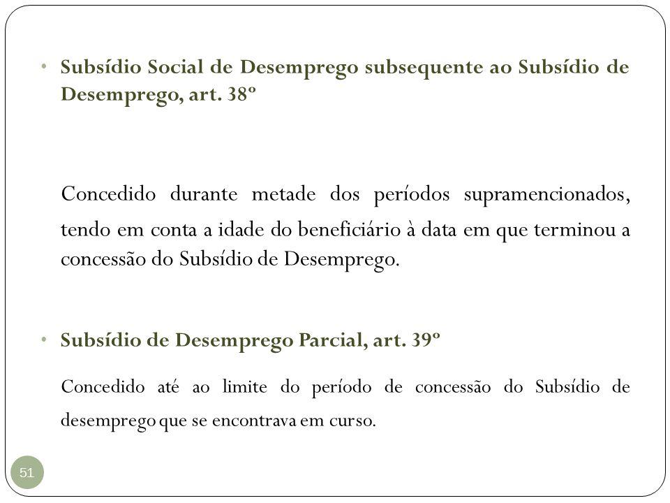 Subsídio Social de Desemprego subsequente ao Subsídio de Desemprego, art. 38º