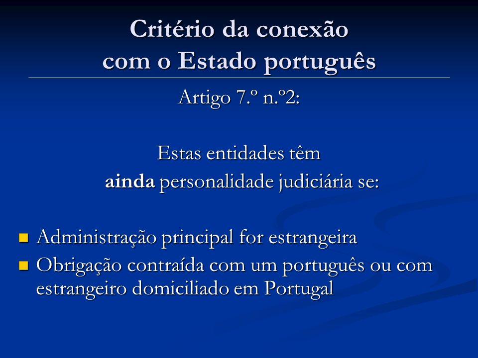 Critério da conexão com o Estado português
