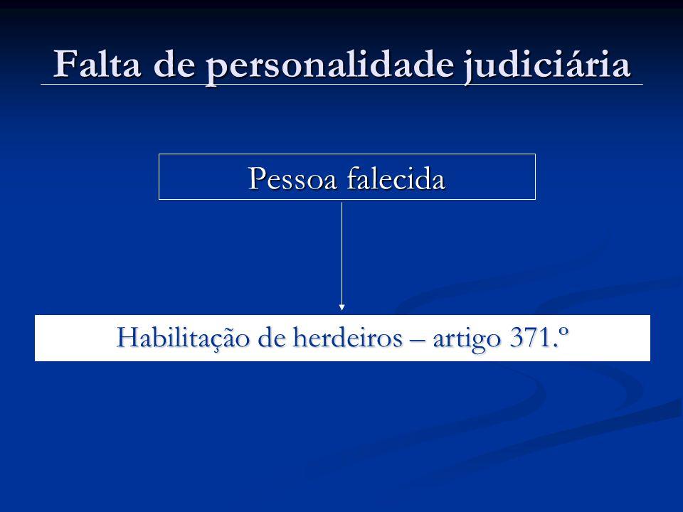 Falta de personalidade judiciária