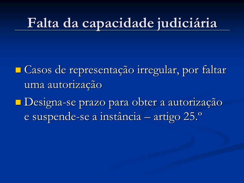 Falta da capacidade judiciária