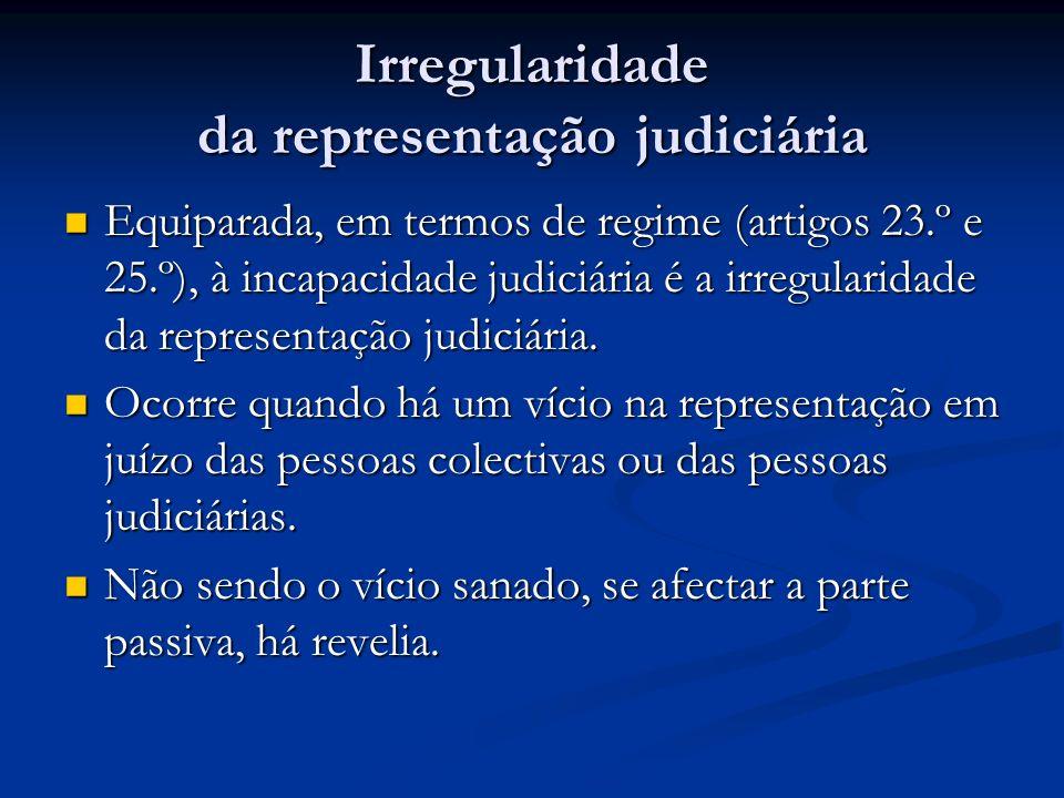 Irregularidade da representação judiciária