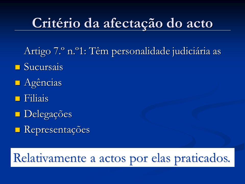 Critério da afectação do acto
