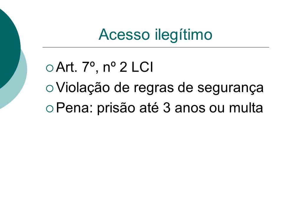 Acesso ilegítimo Art. 7º, nº 2 LCI Violação de regras de segurança