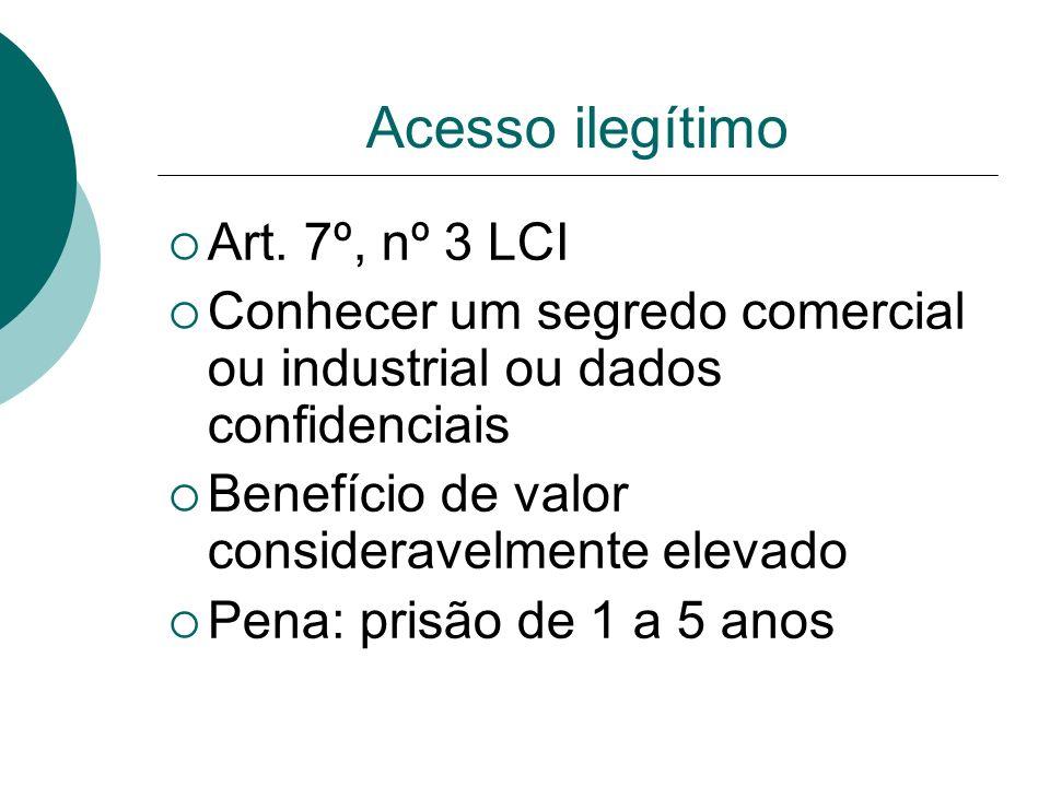 Acesso ilegítimo Art. 7º, nº 3 LCI