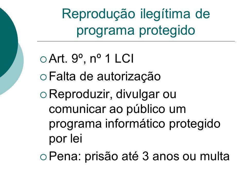 Reprodução ilegítima de programa protegido