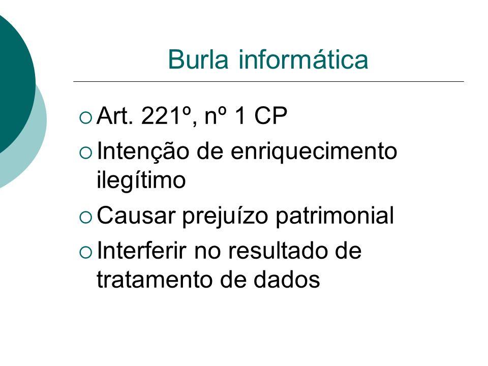 Burla informática Art. 221º, nº 1 CP
