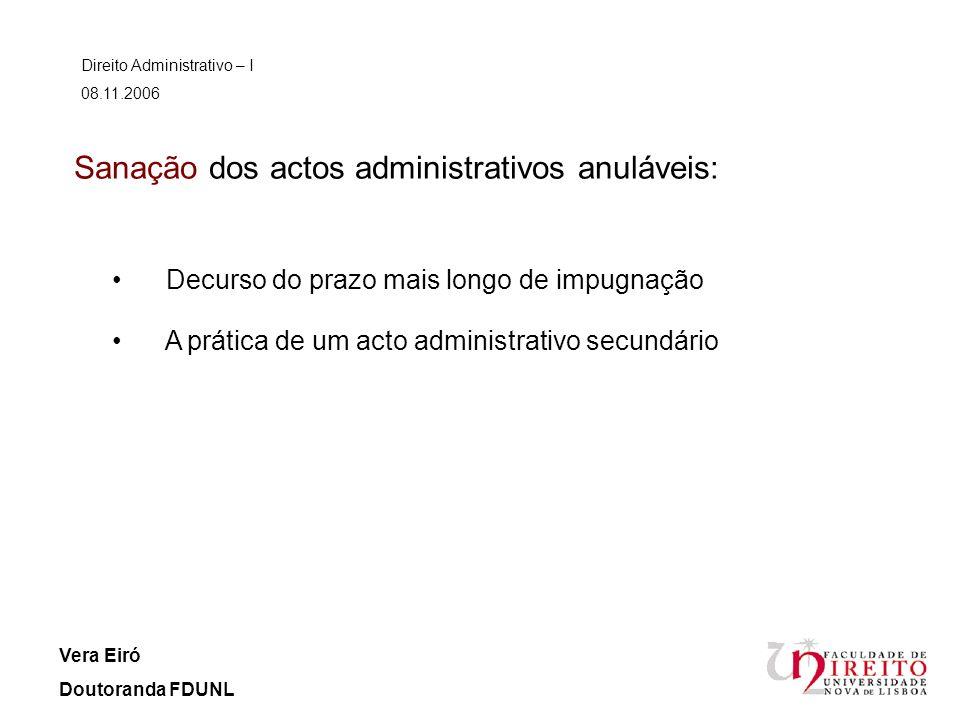 Sanação dos actos administrativos anuláveis: