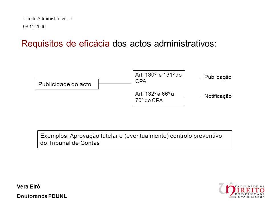 Requisitos de eficácia dos actos administrativos:
