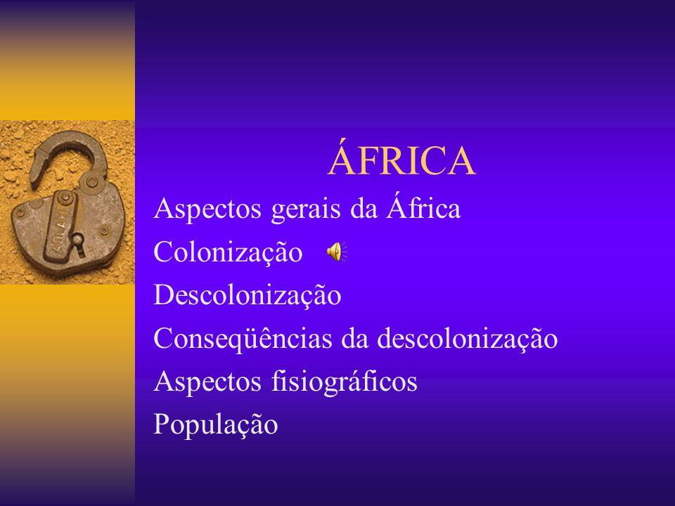 ÁFRICA Aspectos gerais da África Colonização Descolonização