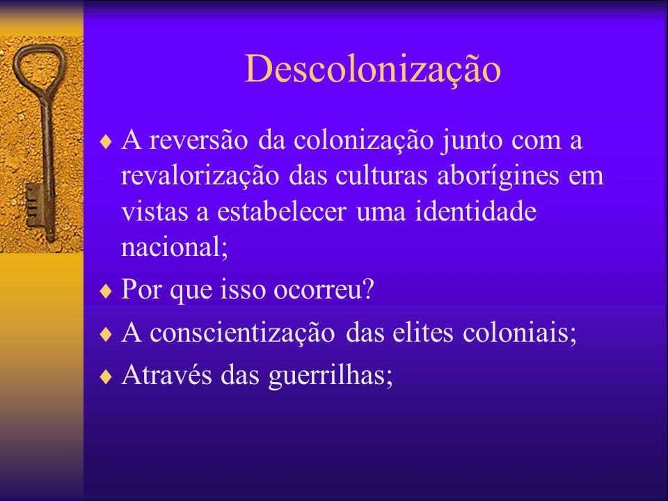 Descolonização A reversão da colonização junto com a revalorização das culturas aborígines em vistas a estabelecer uma identidade nacional;