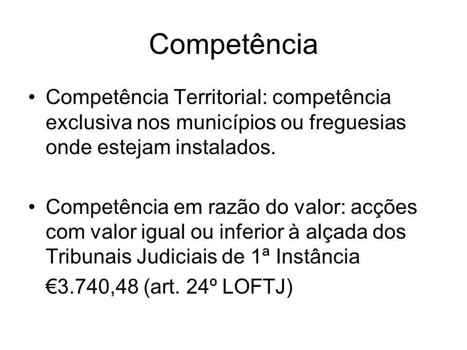 Competência Competência Territorial: competência exclusiva nos municípios ou freguesias onde estejam instalados.