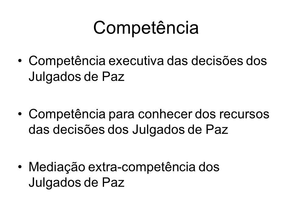 Competência Competência executiva das decisões dos Julgados de Paz