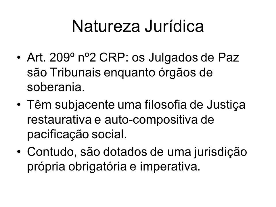 Natureza Jurídica Art. 209º nº2 CRP: os Julgados de Paz são Tribunais enquanto órgãos de soberania.