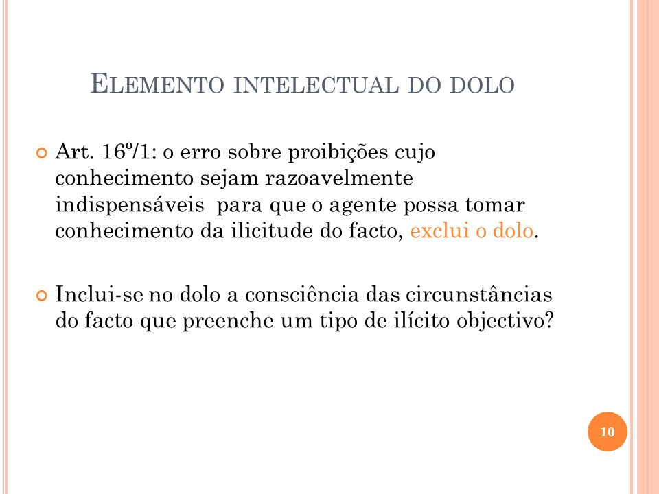 Elemento intelectual do dolo
