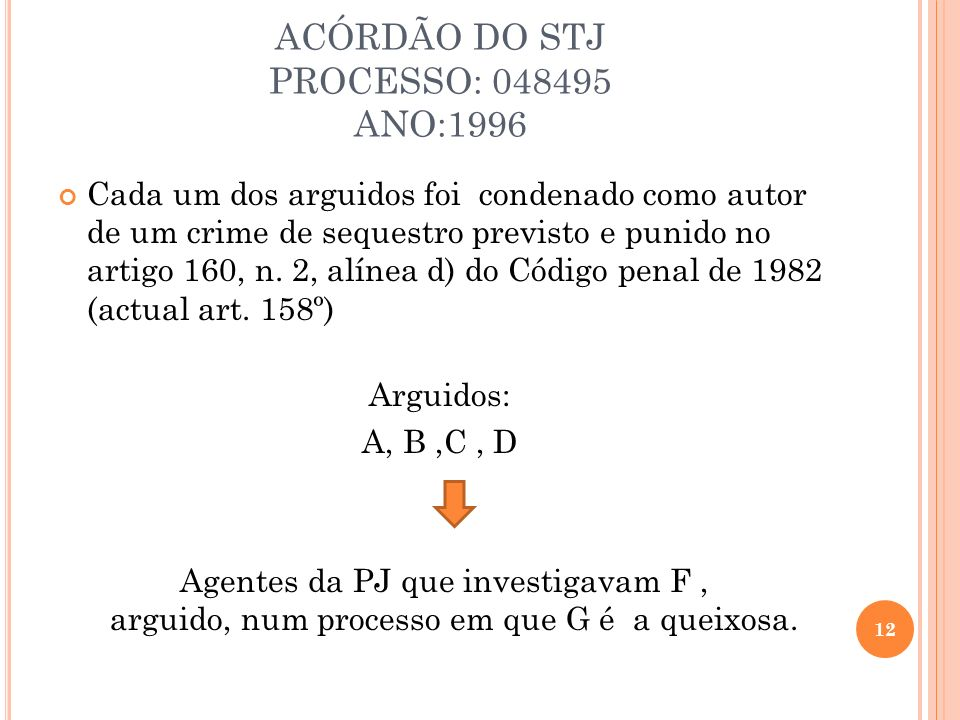 ACÓRDÃO DO STJ PROCESSO: 048495 ANO:1996