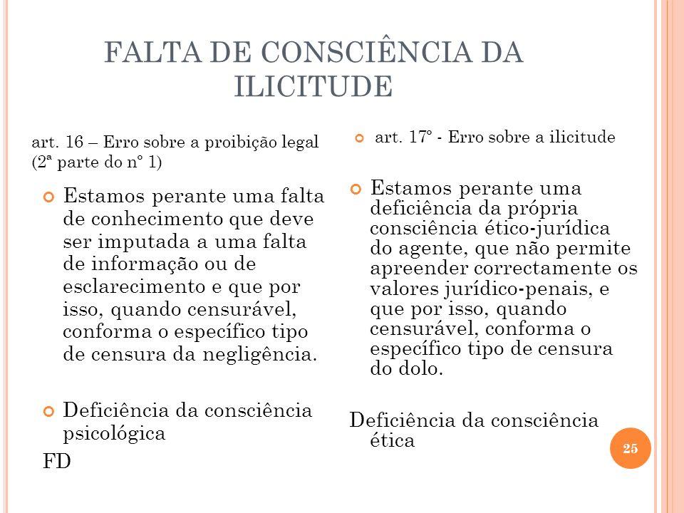 FALTA DE CONSCIÊNCIA DA ILICITUDE