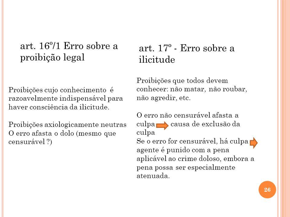 art. 16º/1 Erro sobre a proibição legal