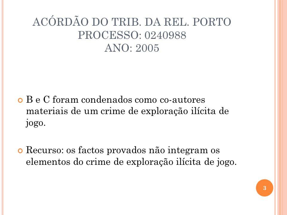 ACÓRDÃO DO TRIB. DA REL. PORTO PROCESSO: 0240988 ANO: 2005