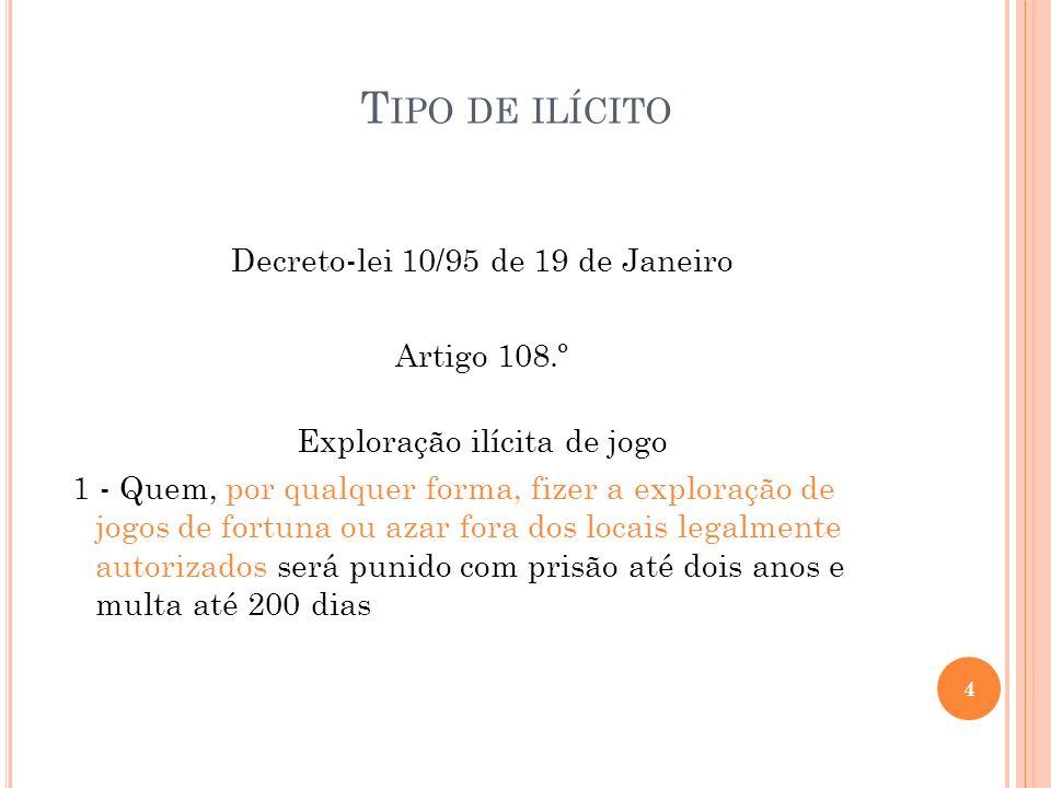 Tipo de ilícito Decreto-lei 10/95 de 19 de Janeiro Artigo 108.º