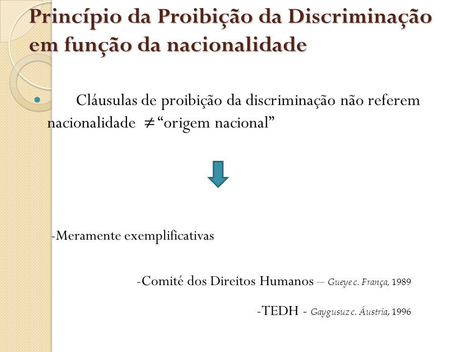 Princípio da Proibição da Discriminação em função da nacionalidade
