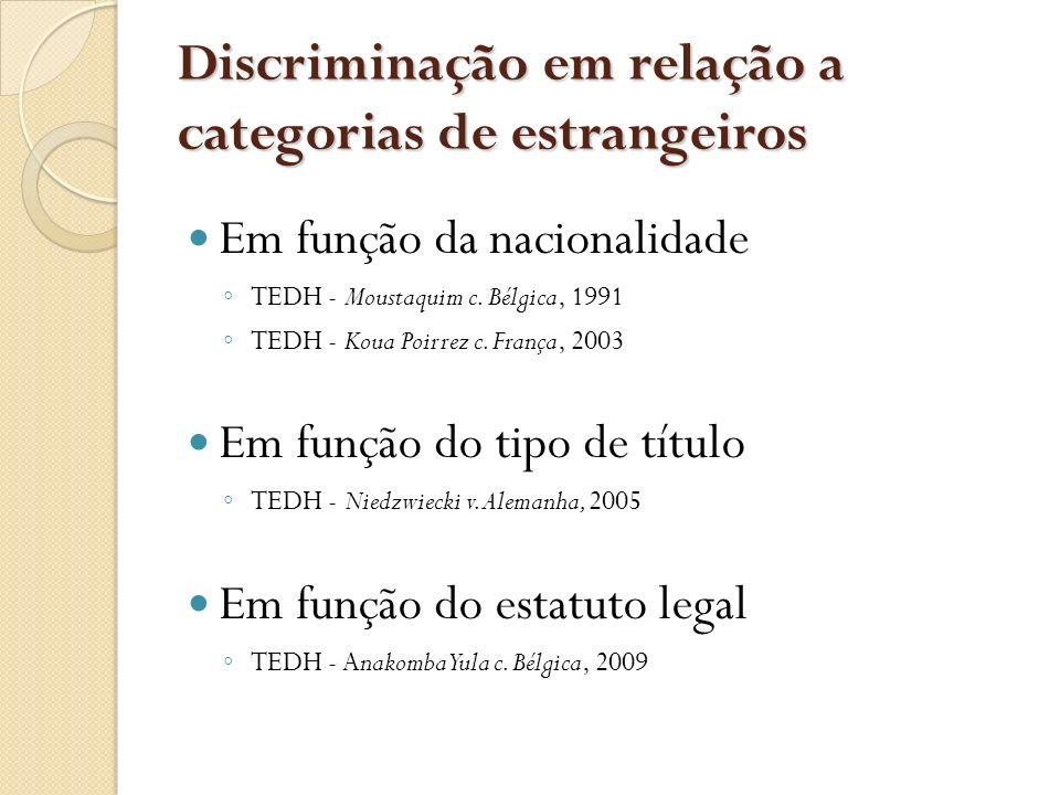 Discriminação em relação a categorias de estrangeiros