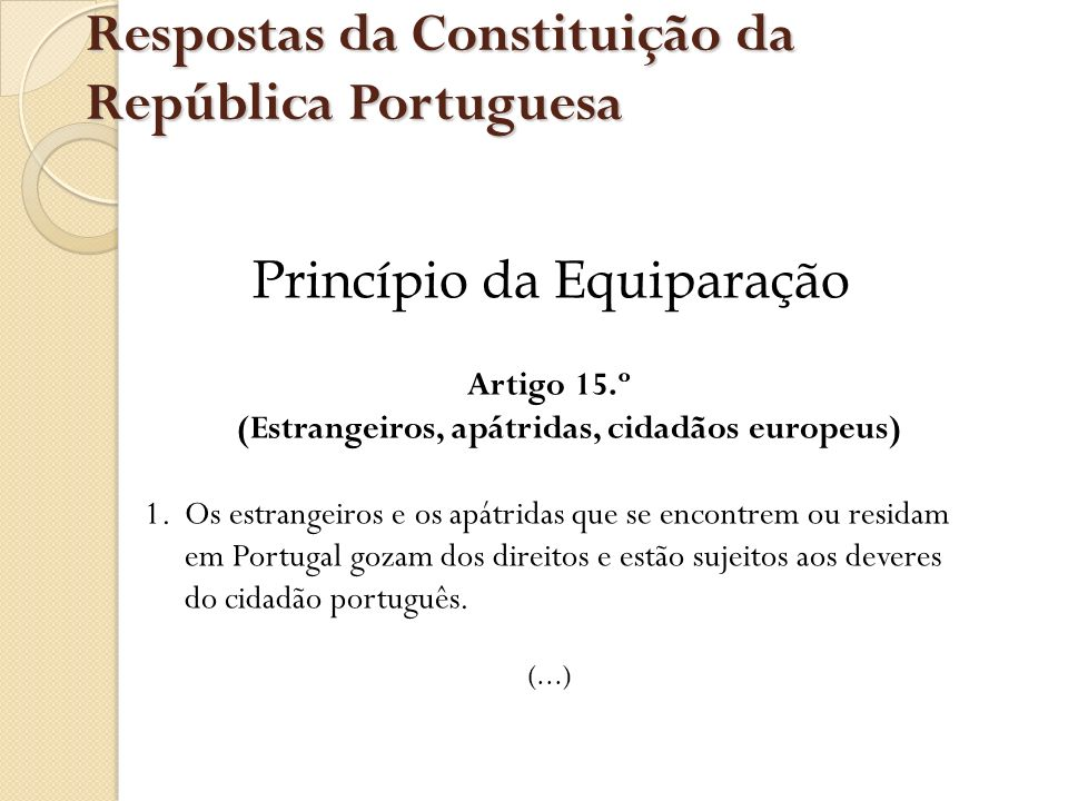 Respostas da Constituição da República Portuguesa