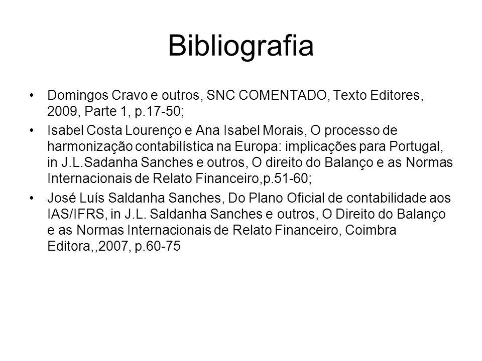 Bibliografia Domingos Cravo e outros, SNC COMENTADO, Texto Editores, 2009, Parte 1, p.17-50;