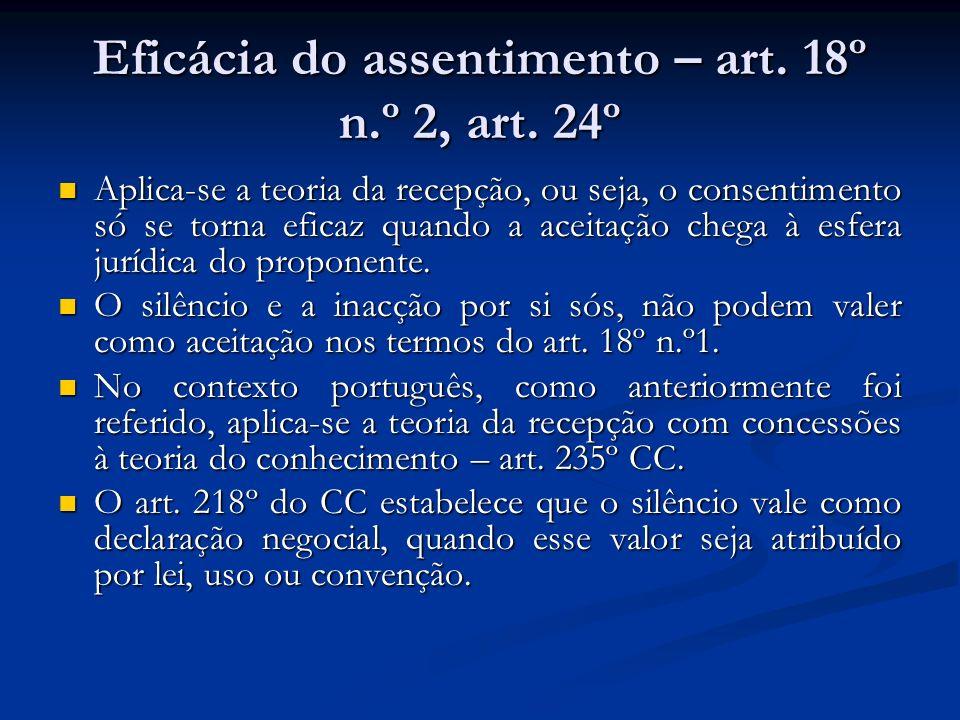 Eficácia do assentimento – art. 18º n.º 2, art. 24º
