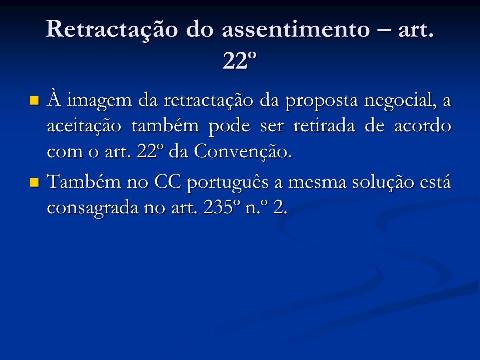 Retractação do assentimento – art. 22º