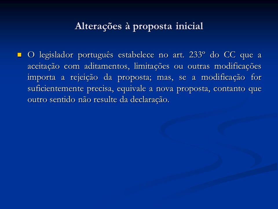 Alterações à proposta inicial