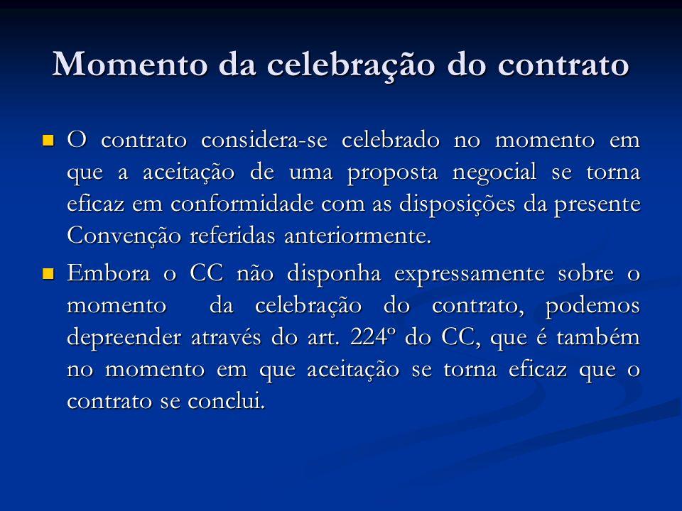 Momento da celebração do contrato